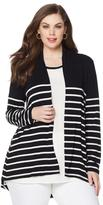 Vince Camuto Striped Jersey Knit Cardigan - Plus