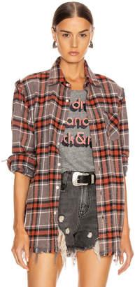R 13 Shredded Seam Shirt in Charcoal & Red Plaid | FWRD