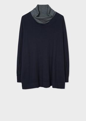 Paul Smith Women's Dark Navy Funnel Neck Wool-Blend Sweater