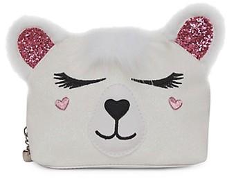 OMG Accessories Girl's Snowy The Polar Bear Faux Fur-Trim Cosmetic Bag