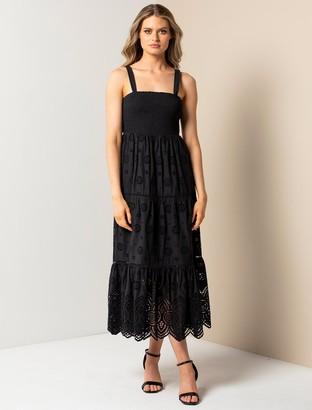 Forever New Loretta Shirred Midi Dress - Black - 12