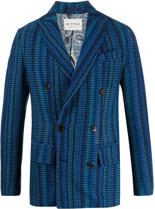 Etro Double Breasted Check Print Blazer