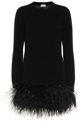 Saint Laurent Feather-trimmed cashmere minidress