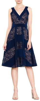 Harlyn Mixed Lace Fit & Flare Dress