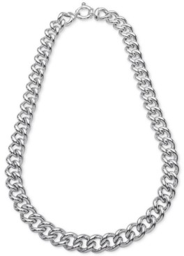 "Giani Bernini Heavy Curb Link 18"" Chain Necklace in Sterling Silver, Created for Macy's"