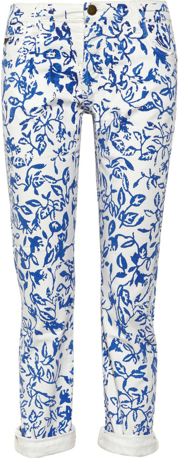 Diane von Furstenberg Current/Elliott The Relaxed Straight Leg printed low-rise jeans