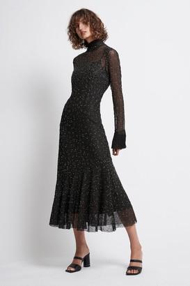 Aje Rebellion Embellished Frill Midi Dress