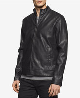 Calvin Klein Men's Faux-Leather Perforated Bomber Jacket