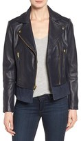 Via Spiga Women's Mixed Media Leather Moto Jacket