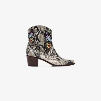 Sophia Webster grey Shelby 50 snake effect ankle boots