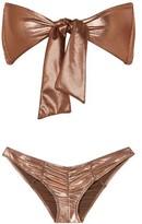 Lisa Marie Fernandez Poppy Tie-front Ruched Metallic Bikini