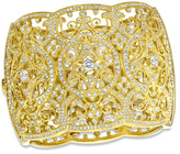 Zales AVA Nadri Cubic Zirconia and Crystal Ornate Hinged Wide Bangle Bracelet in Brass with 18K Gold Plate