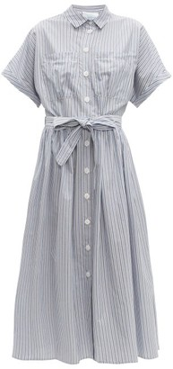 Loup Charmant Pamlico Striped Cotton Poplin Midi Dress - Womens - Blue White