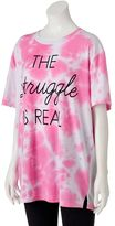 "Awake Juniors' The Struggle Is Real"" Oversized Graphic Tee"