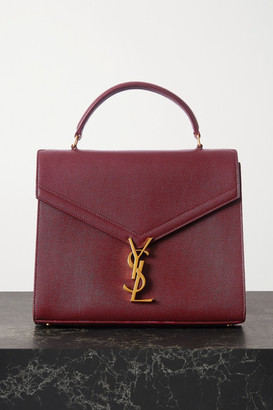 Saint Laurent Cassandra Medium Textured-leather Tote - Burgundy