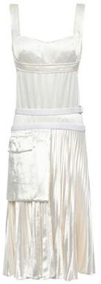 Victoria Beckham Paneled Pleated Satin-crepe And Velvet Dress