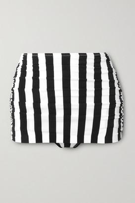 Norma Kamali Bill Ruched Striped Bikini Briefs - Black