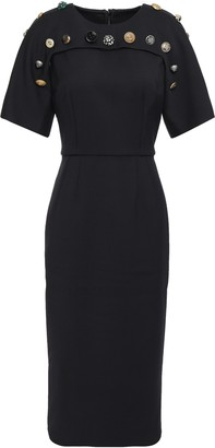 Dolce & Gabbana Button-embellished Stretch-wool Twill Midi Dress