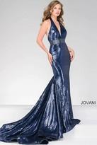 Jovani Sequined Halter Top Prom Dress 45203