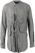Ziggy Chen - tie detail crinkled shirt - men - Cotton/metal - M