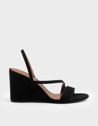 Charles & Keith Asymmetric Strap Textured Slingback Wedges