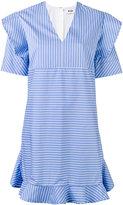 MSGM striped ruffled dress - women - Cotton - 44