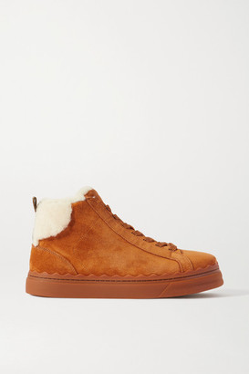 Chloé Lauren Shearling-lined Scalloped Suede High-top Sneakers - Tan