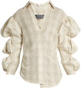 Jacquemus Puff-sleeved silk-blend shirt