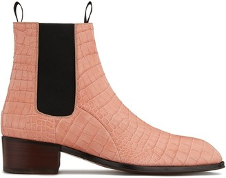 Giuseppe Zanotti Embossed Croc-Effect Ankle Boots