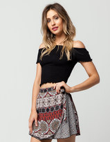 Eyeshadow Smocked Off The Shoulder Womens Top