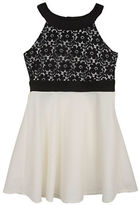 Rare Editions Girls 7-16 Halterneck Lace Flared Dress