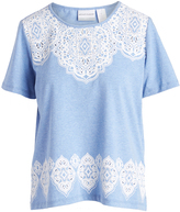 Alfred Dunner Periwinkle & White Ornate Top - Petite