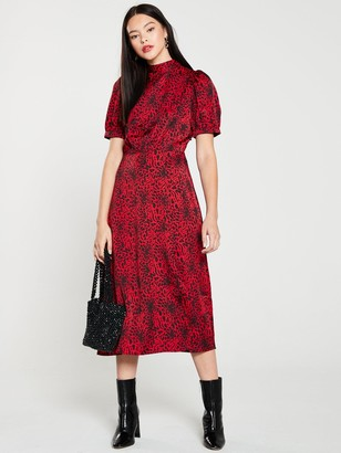 Warehouse Puff Sleeve Animal Dress - Red