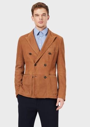 Giorgio Armani Double-Breasted Blazer In Lambskin Nubuck Leather