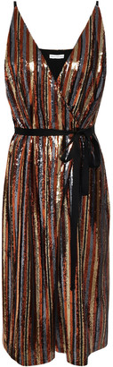 Robert Rodriguez Wrap-effect Sequined Striped Woven Dress