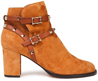 Valentino Studded Leather-trimmed Suede Ankle Boots
