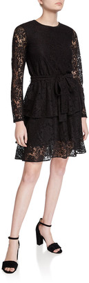 MICHAEL Michael Kors Long-Sleeve Tiered Lace A-Line Dress