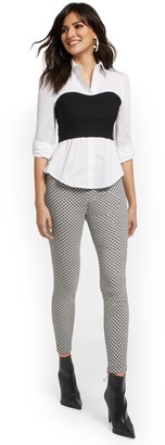 New York & Co. Petite Whitney High-Waisted Pull-On Slim-Leg Pant - Grid