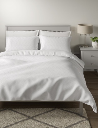 Marks and Spencer Pure Cotton Chevron Textured Bedding Set