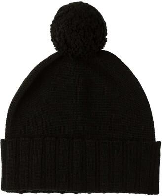 Johnstons of Elgin Cashmere Pom Pom Hat Black