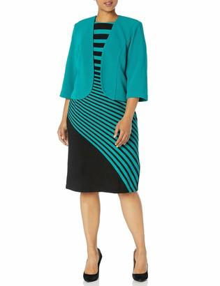 Maya Brooke Women's Plus Size Stripe Jacket Dress