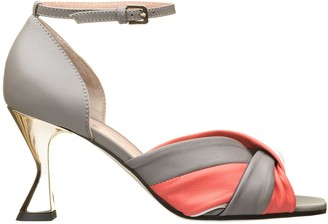Pollini Grey And Coral Sandals