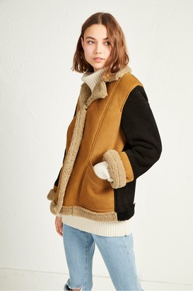 French Connection Louie Sheepskin Patchwork Jacket