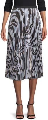 DELFI Collective Clara Pleated Zebra-Print Midi Skirt
