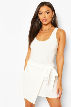 boohoo Petite Wrap Tie Front Mini Skirt