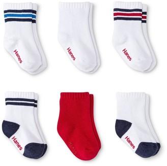 Hanes Infant Toddler Boys' 6pk Crew Socks - Colors Vary -5T