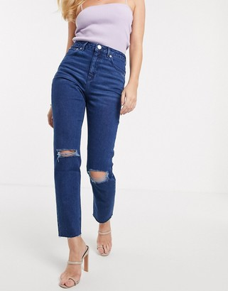 Asos Design DESIGN Farleigh high waisted slim mom jeans with rips in bright blue wash with raw hem