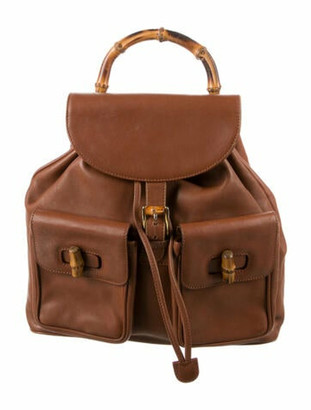 Gucci Vintage Leather Bamboo Backpack Brown