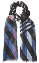 Burberry Stripe and check-print linen scarf