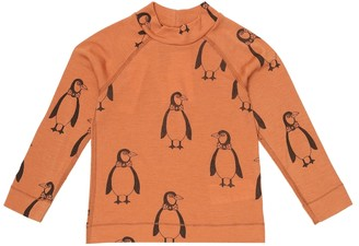 Mini Rodini Penguin printed merino wool top